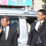 長野県東御市 当選から一夜明け、決意を述べる平林(左)、窪田両市議